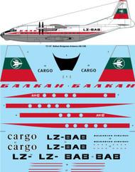 1/72 Scale Decal Balkan Bulgarian Airlines (late) Antonov AN-12B