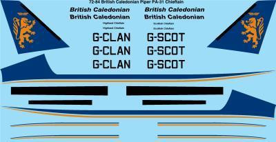 1/72 Scale Decal British Caledonian Piper PA-31 Chieftain