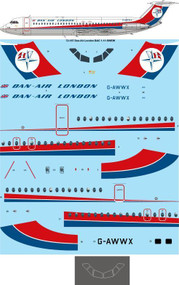 1/72 Scale Decal Dan Air London BAC 1-11-509EW