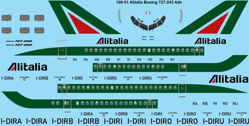1/100 Scale Decal Alitalia Boeing 727-243