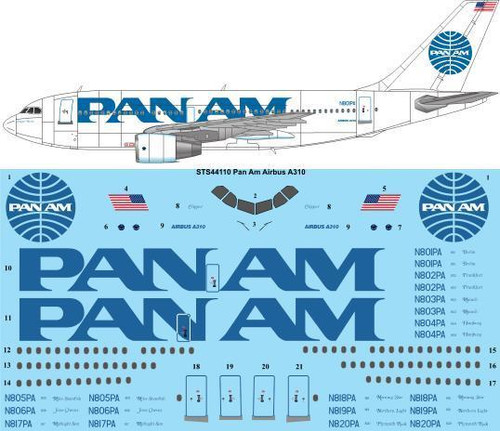 1/144 Scale Decal Pan Am (Billboard) Airbus A310-200/300