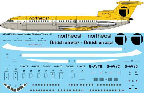 1/144 Scale Decal Northeast Hawker Siddeley Trident 1E