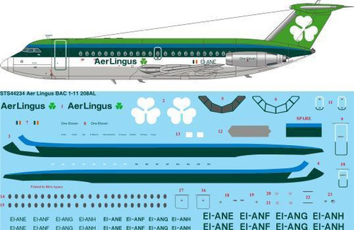 1/144 Scale Decal Aer Lingus BAC 1-11 208AL