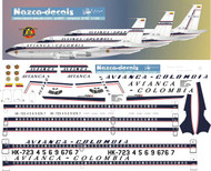 1/144 Scale Decal Avianca B720 old scheme with all Variants