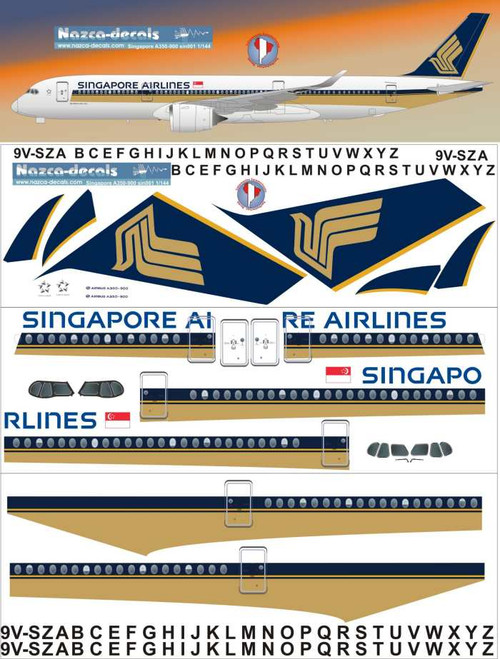 1/144 Scale Decal Singapore A-350