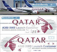 1/144 Scale Decal Qatar A350-900 Lauch Customer