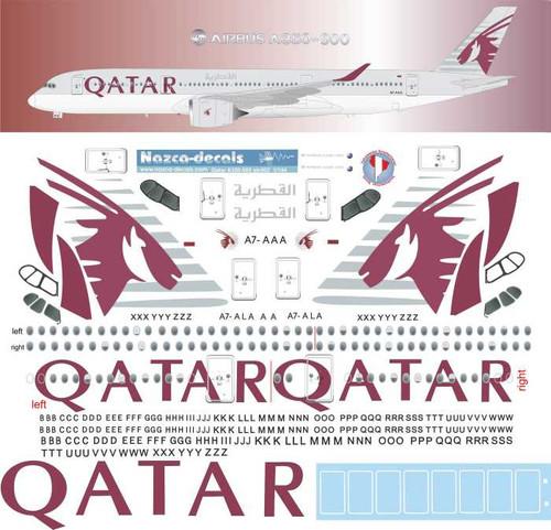 1/144 Scale Decal Qatar Airbus A350-900