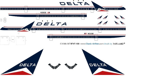1/100 Scale Decal Delta Airlines 747-100
