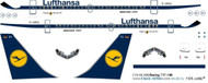 1/144 Scale Decal Lufthansa 737-100