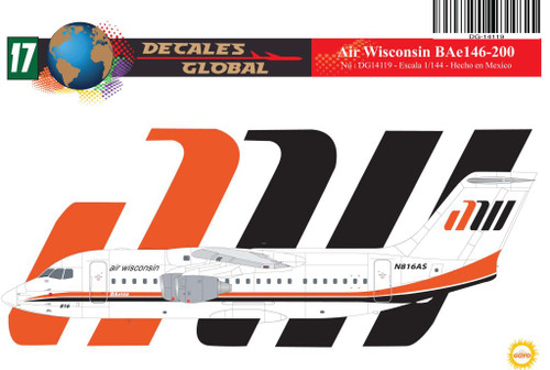 1/144 Scale Decal Air Wisconsin BAe 146-200