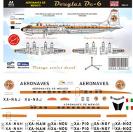 1/144 & 1/72 Scale Decal Aeronaves de Mexico DC-6