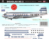 1/144 1/72 1/48 Scale Decal Aeronaves de Mexico DC-3  Mid 40's