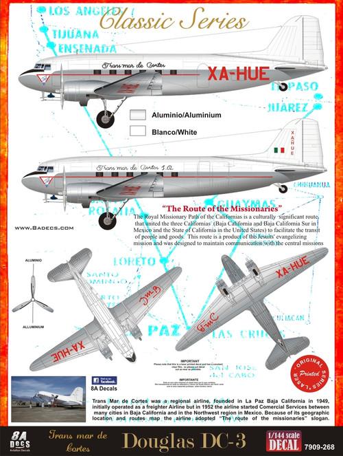1/144 Scale Decal TRANS MAR DE CORTES DC-3