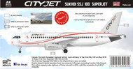 1/144 Scale Decal Cityjet Sukhoi SSJ 100