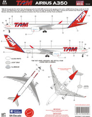 1/144 Scale Decal Airbus A350 TAM