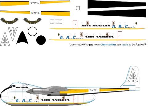 1/144 Scale Decal Air Anglia / ABC Cargo AW Argosy
