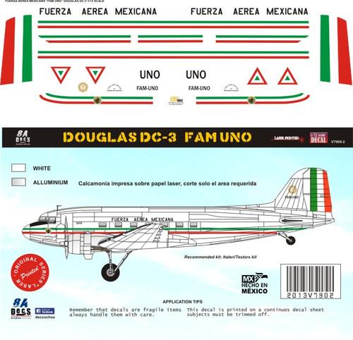 1/144 1/72 1/48 Scale DecalFuerza Aerea Mexicana DC-3 / C-47 PresidencialUNO
