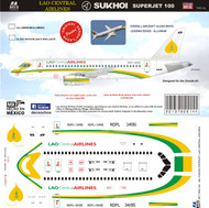 1/144 Scale Decal Lao Central Airlines Sukhoi 100