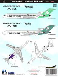 1/144 Scale Decal Mexicana 727-200 Toluca & Temoaya