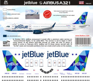 1/144 Scale Decal Jet Blue A-321