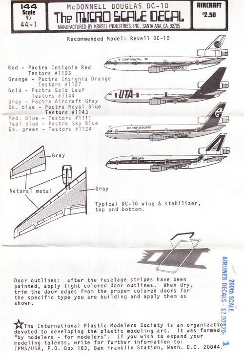 1/144 Scale Decal Continental / Air New Zealand / Alitalia / UTA DC-10