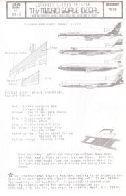 1/144 Scale Decal PSA / British Airways / Court / Lockheed Tristar Protytype L-1011