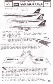 1/144 Scale Decal TWA / Singapore / Qantas 747