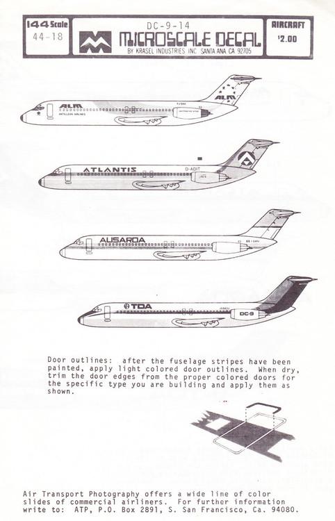 1/144 Scale Decal ALM / Atlantis / Alisarda / TDA DC9-14