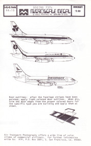 1/144 Scale Decal Piedmont / NAC / Aer Lingus 737-200
