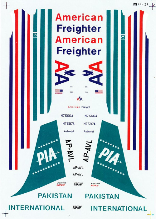 1/144 Scale Decal American Freighter / PIA - Pakistan International 707
