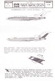1/144 Scale Decal Wardair / World Airways 727