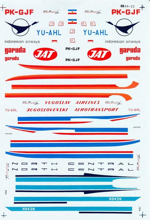 1/144 Scale Decal North Central / JAT / Garuda DC9-30