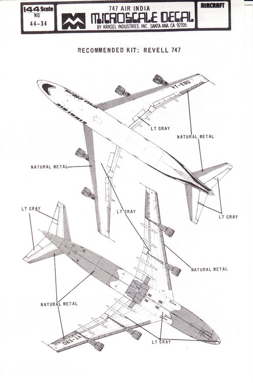 1/144 Scale Decal Air India 747