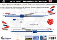 1/144, 1/200 , 1/400 Scale Decal British Airways 777-300ER