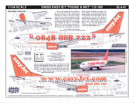 1/144 Scale Decal Swiss easyJet.com 737-300 Phone & Net