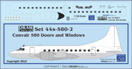 1/144 Scale Decal Convair 580 Cockpit / Windows / Doors & Details