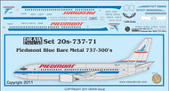 1/200 Scale Decal Piedmont 737-300 Bare Metal