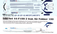 1/144 Scale Decal Iran Air F-100