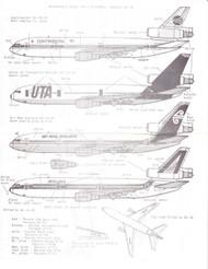 1/200 Scale Decal Continental / UTA / Air New Zealand / Alitalia DC-10