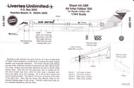1/144 Scale Decal Air Inter F-100
