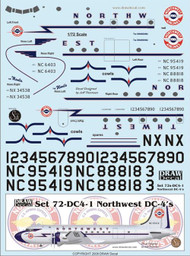 1/72 Scale Decal Northwest DC-4