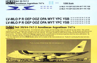 1/200 Scale Decal Aerolineas Argentinas 747
