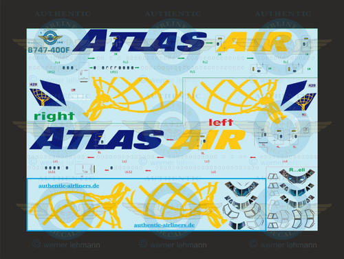1/144 Scale Decal Atlas Air 747-400 with Lifelike Cockpit CARGO Version