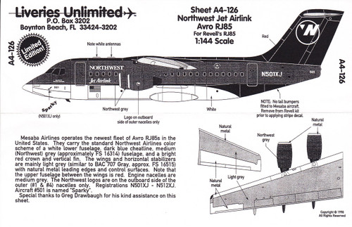 1/144 Scale Decal Northwest Jet Airlink RJ-85