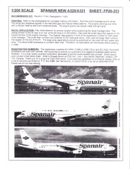 1/200 Scale Decal Spanair A-320 / A-321