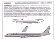 1/200 Scale Decal Braniff Ultra DC8-62 PERSEUS GREEN