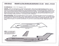 1/200 Scale Decal Braniff Ultra 727-200 SPARKLING BURGUNDY