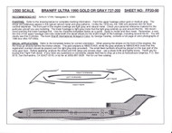 1/200 Scale Decal Braniff Ultra 727-200 GOLD / GRAY