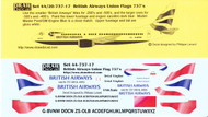 1/144 Scale Decal British Airways 737 200 / 300 / 400 / 500