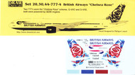 1/300 Scale Decal British Airways 777 Chelsea Rose